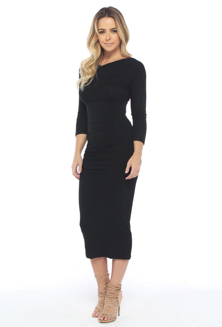 The Out Lane - Modal Midi Black Dress