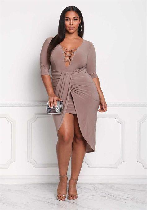 Plus Size Clothing | Plus Size Plunge Cross Strap Surplice Bodycon Dress | Debshops
