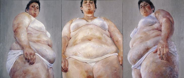 Jenny Saville - Strategy (South Face/Front Face/North Face). A confrontation of the body/the uncomfortable realness of flesh. Working from pieces of photographs and a giant scale, Jenny captures a strangely sexual bodily realness. She is largely associated with the Young British Artists group of the late 1980s.