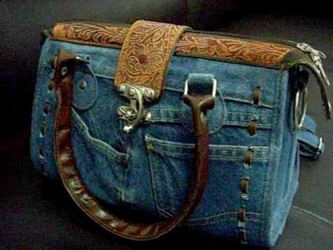 Hard to find Jeans and Leather LADIES' HANDBAG V1