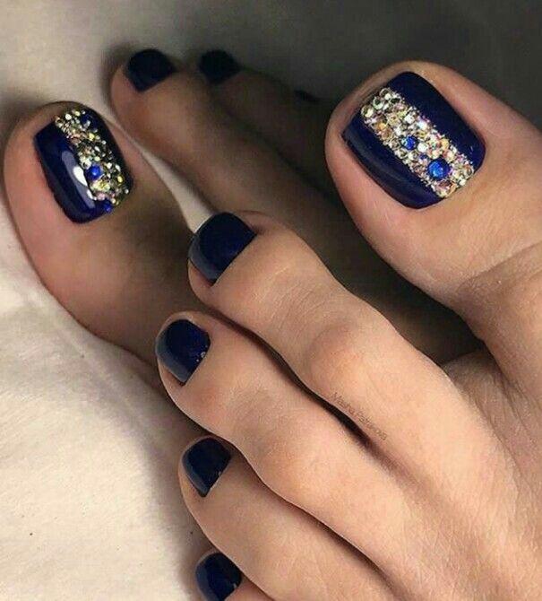 Dark Blue Tienails Pedicure Nail Art Pretty Toe Nails Toe Nail