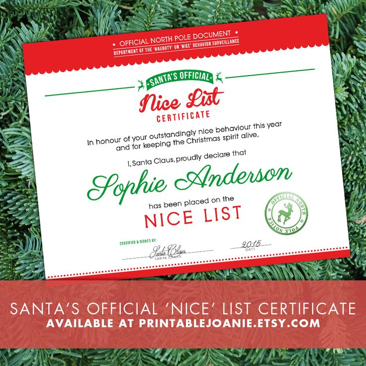 """This """"Santa's Nice List Certificate """" is personalized to your children's name and it's signed by Santa himself!  You can easily print it at home and give it to your children on Christmas Eve, in a Stocking or a few days before Christmas to let them know that they had an outstandingly nice behavior this year!  They will be so happy to let all their friends know that they have an """"Official North Pole Notice"""" to prove that they are on Santa's """"Nice"""" list this year :-)"""