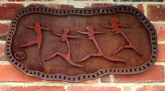 Michael Wilson - Running Women Wall hanging Corten steel sculpture with red…