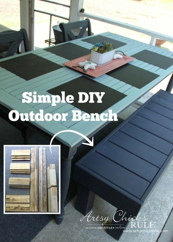 Simple DIY Outdoor Bench - super EASY build! - #diy #outdoorbench #outdoorfurniture #diybuild artsychicksrule