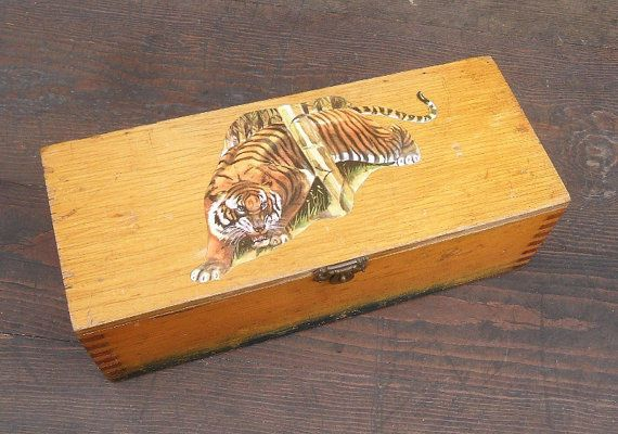Vintage Wooden Pencil Storage Box With Tiger Decoupage Lid 1950s Industrial Chic