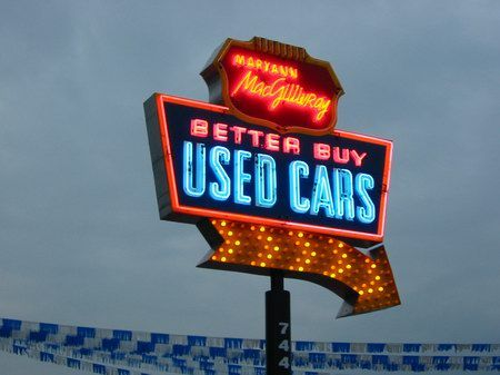 signs used dealership lot cars lots flint neon michigan want comedian cuz hey dealerships journey through stand advertising