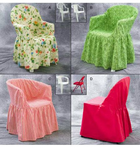 Slipcover pattern for resin chair.  take something cheep and turn it into fabulous!