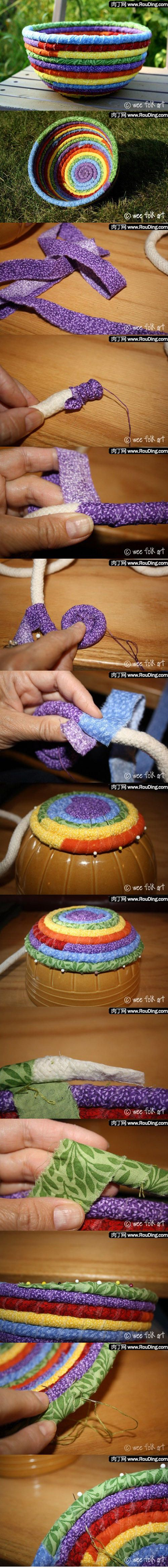 How to make a decorative fabric bowl.Crafts Ideas, Diy Crafts, Cute Ideas, Fabrics Scrap, Ropes, Fabrics Baskets, Scrap Fabrics, Coil Basket, Fabrics Bowls