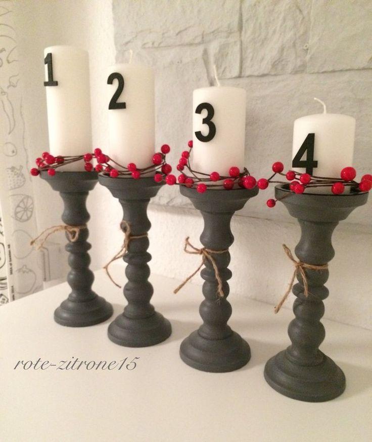 4 Stumpenkerzen Kerzenhalter Advent Kerze Weihnachten Landhaus Tisch Holz Deko