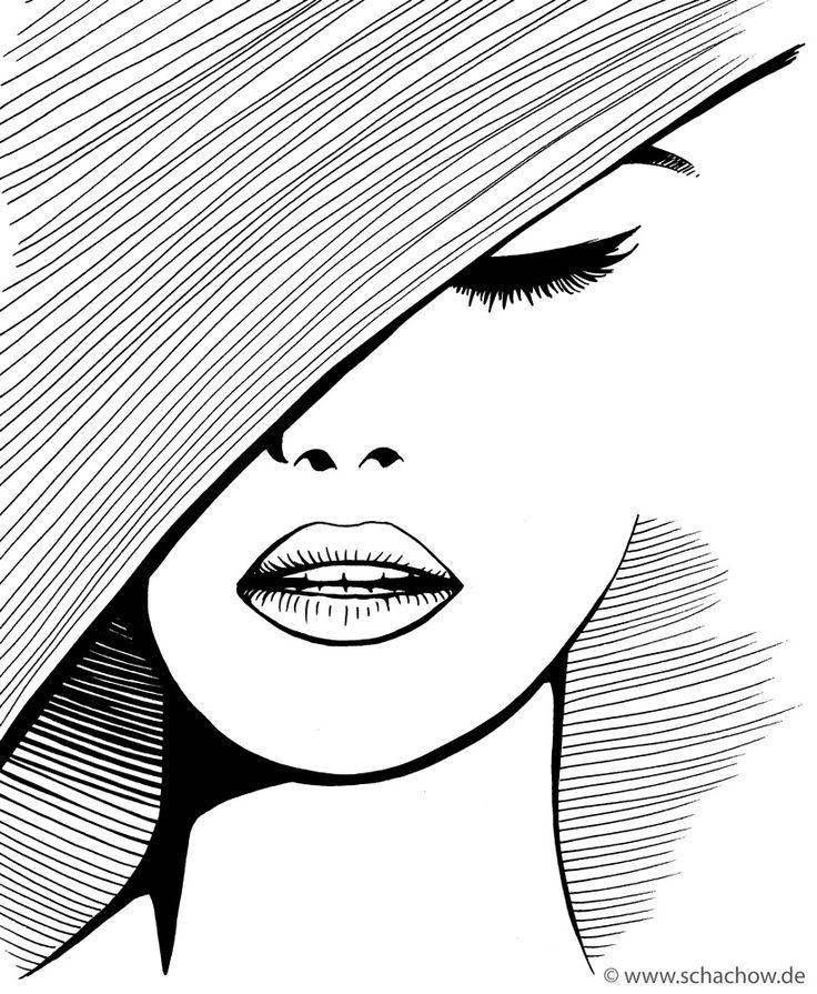 Tusche-Zeichnung einer Frau mit Hut