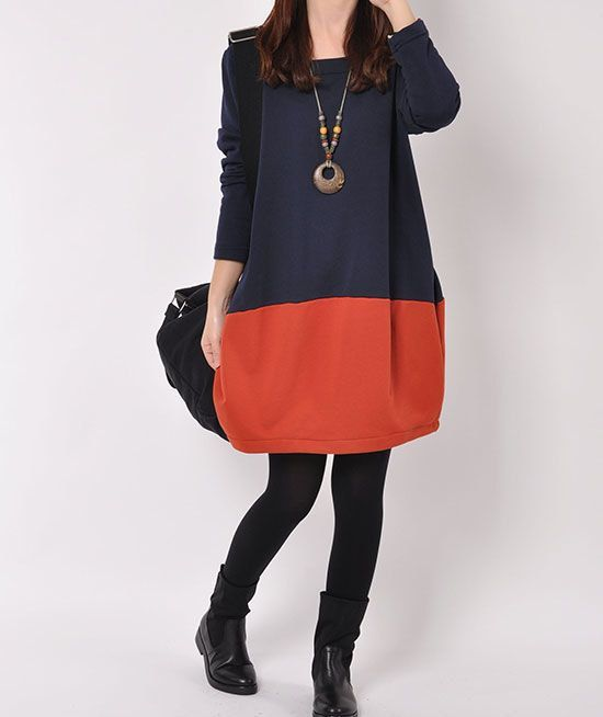 Blue cotton dress Long sleeve dress cotton by originalstyleshop, $59.50