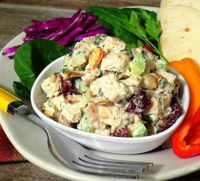 Greek Yogurt and Honey Dijon Chicken Salad...Seriously AMAZING and healthy, too! (It is very yummy but I would add a bit more of the Dijon mustard)