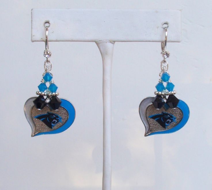 Carolina Panthers Earrings, Panthers Bling, Unconditional Love Pro Football Earrings, Panthers Playoffs Accessory by scbeachbling on Etsy