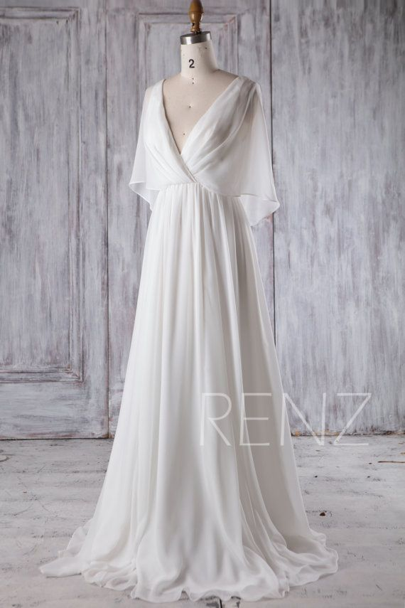 Seaside Marriage ceremony Costume White Chiffon Night Costume Lengthy Sleeve Robe Easy Marriage ceremony Clothes Bridal Costume Flooring Size (H339A)