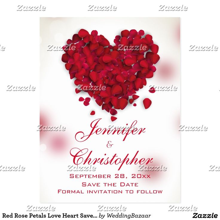 Red Rose Petals Love Heart Save The Date Announcement