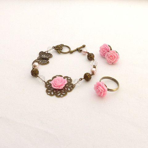 Rose earrings, bracelet and ring set