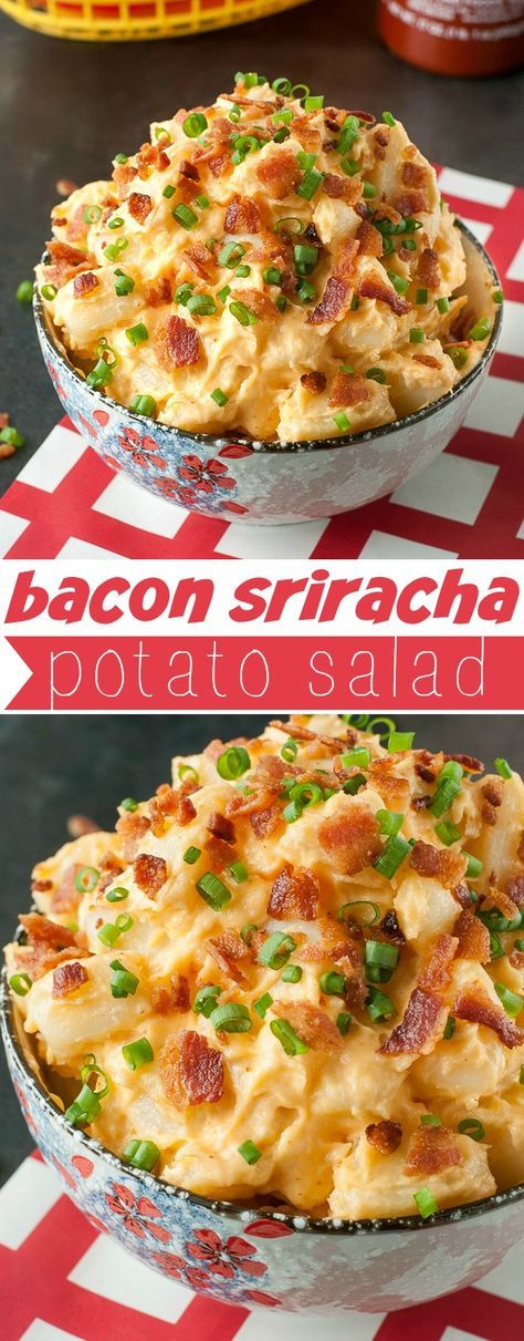 Potato salad season is here! Spice up your Spring and Summer barbecues, picnics, and parties with this zesty Bacon Sriracha Potato Salad. This feisty side dish is loaded with flavor!