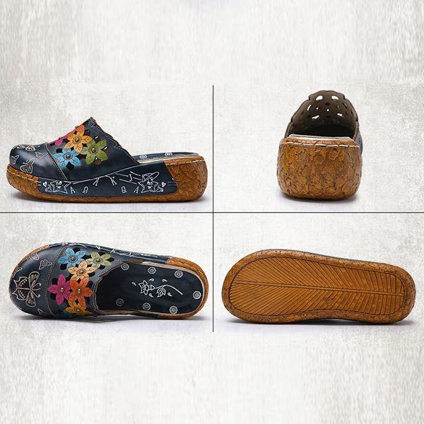 SOCOFY Original Flower Wedge Retro Genuine Leather Shoes