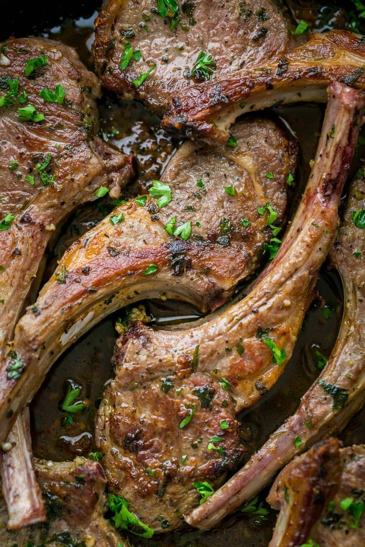 These lamb chops are seared, forming a garlic herb crust. The 2-ingredient pan sauce will completely win you over! Easy, excellent Lam Chops Recipe! | natashaskitchen.com