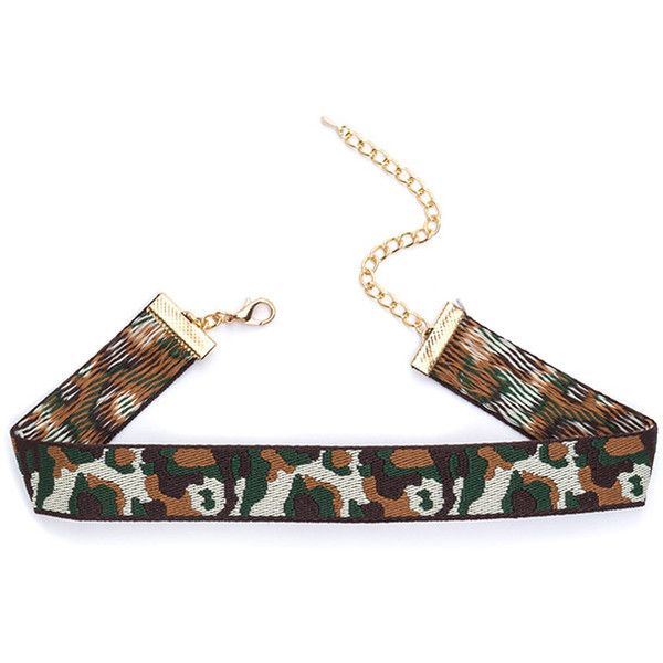 Now You See Me Camo Choker ❤ liked on Polyvore featuring jewelry, necklaces, camo necklace, choker jewellery, camouflage jewelry, camo jewelry and choker jewelry