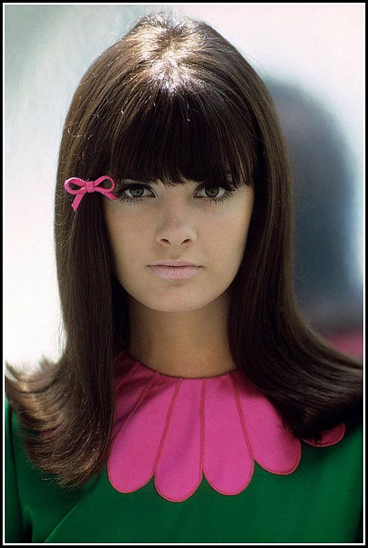 Katherine Carpenter in green dress with pink collar by Deanna Littell, make-up by Clairol, photo by Francesco Scavullo used for cover of Glamour magazine, November 1965 | by skorver1