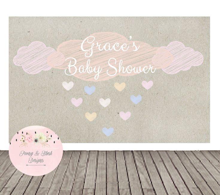 Baby Shower Backdrop, Raining Baby Shower, Rain Shower Baby Shower, Buffet Table, Baby Shower Decorations by PeonyBlushDesigns on Etsy