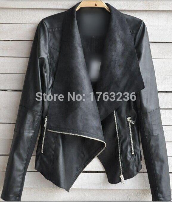 Atacado varejo Vintage mulheres de Slim PU Leather Jacket manga longa motociclista da motocicleta do revestimento preto e bege Outwear S 4XL em Jaquetas Básicas de Roupas e Acessórios Femininos no AliExpress.com   Alibaba Group