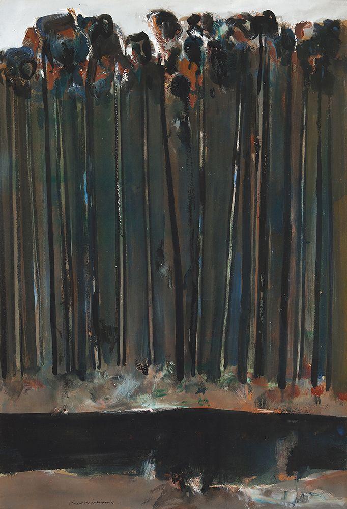 """ Fred Williams (Australian, 1927-1982), Untitled, c.1958. Gouache on paper on board, 72 x 49 cm. """