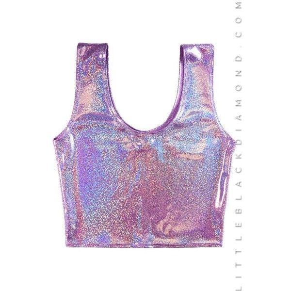 Lavender Hologram Crop Tank, Nylon Crop Tops; Little Black Diamond ❤ liked on Polyvore featuring tops, holographic tank top, lavender top, purple top, light purple crop top and nylon top