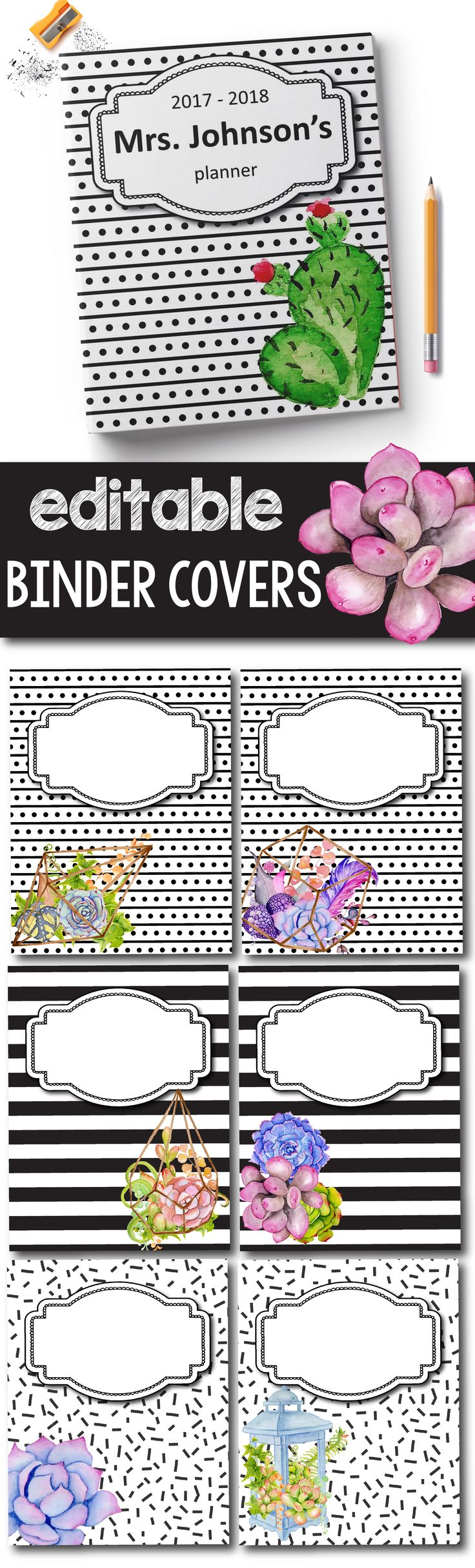 Succulent Binder Covers and Spines EDITABLE - Succulent Decor the perfect printable for your teacher binder, it doesn't matter if you're a preschool, kindergarten, elementary or even high school teacher, these editable binder covers will get make organizing your lesson plans much easier.  #classroomdecor #teacherbinder #succulentclassroom #cactusdecor