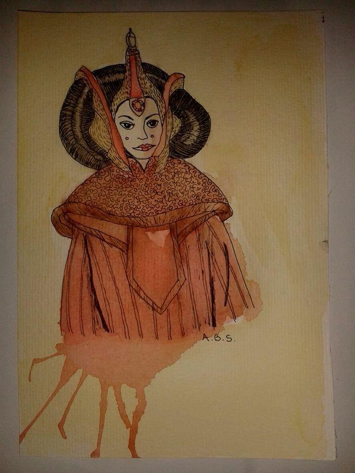 Rainha Amidala- Padmé- Star Wars (aquarela)