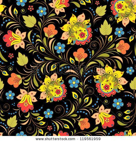 Vector illustration of seamless pattern with traditional russian floral ornament.Khokhloma. - stock vector