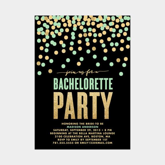 Shimmer & Shine Bachelorette Party Mint and Gold by fineanddandypaperie on Etsy