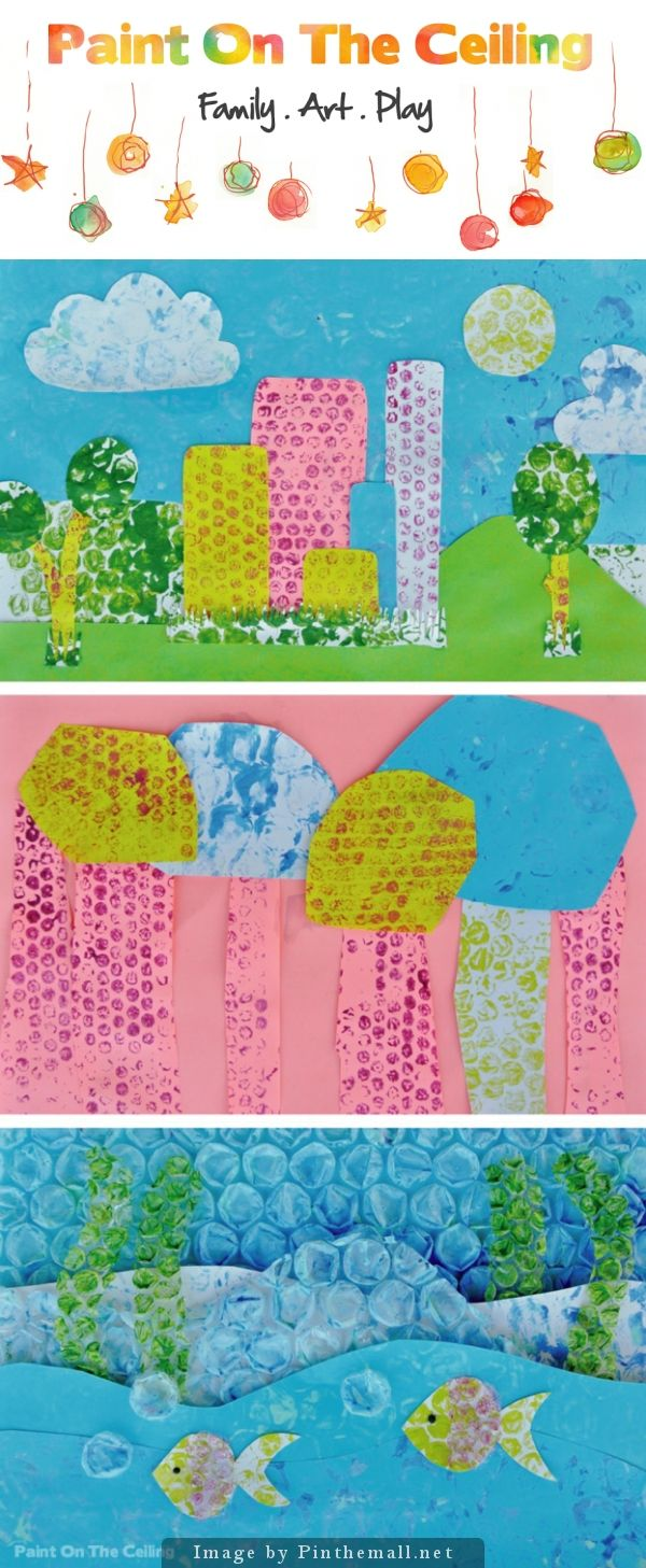 Bubble Wrap Painting -  Who doesn't love bubble wrap? My office is overflowing with it. I have stacks in multiple sizes which I've been saving each time we receive a package.  We've done bubble wrap printing before but the small and large bubbles prompted me to do it again, with a twist.  Miss Pea and I made bubble wrap paper and made use of it in collage.  We ended up incorporating the bubble wrap itself into some of our collages which added texture and depth.