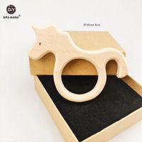 Давайте сделаем Единорог 5 шт. бук деревянный Прорезыватель для кормящих ожерелье деревянный Прорезыватель лошадь прорезывания зубов DIY Де...
