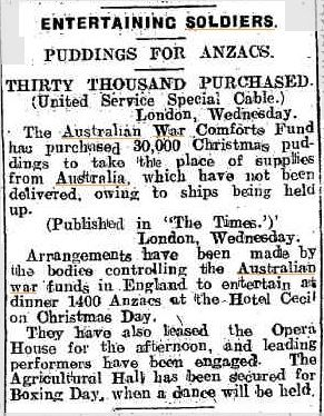 Thirty thousand Christmas Puddings purchased for Anzac troops - The Ballarat Star, 15 December 1916