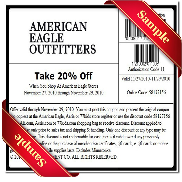 photograph regarding American Eagle Coupons Printable known as American eagle printable discount codes could possibly 2018 - Tree clics