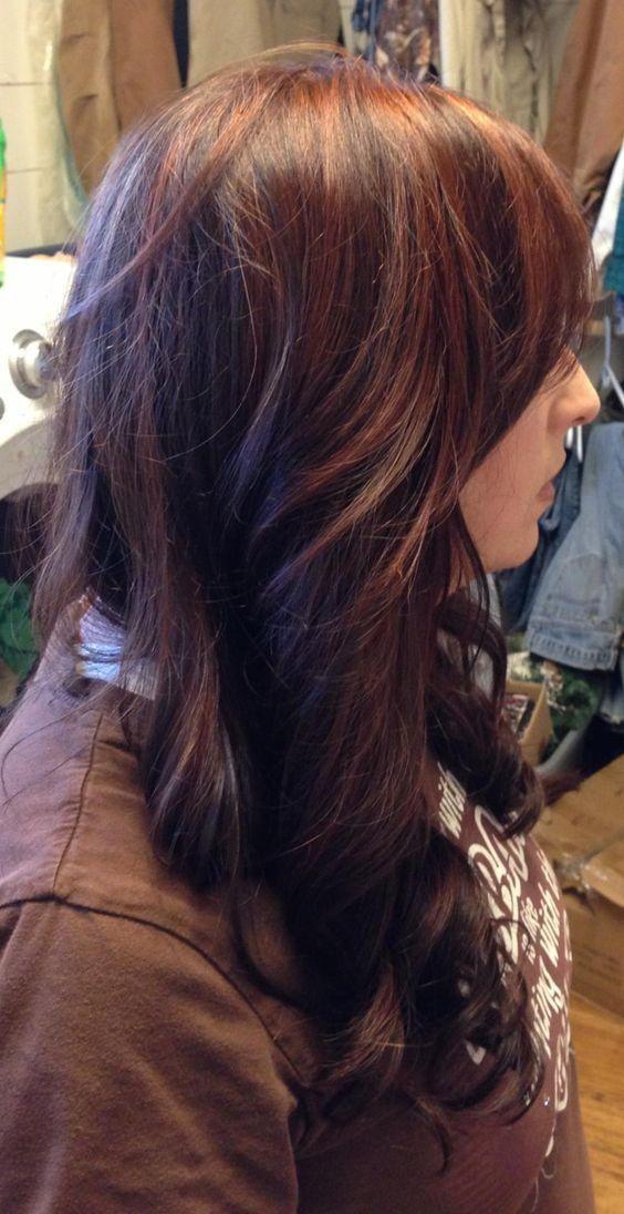 7-Dunkelbraune Haare mit roten strähnen | Hair styles
