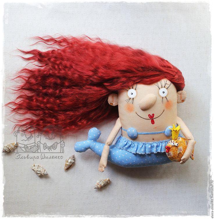 Купить Морская Дева - бордовый, русалка, кукла русалка, кукла из ткани, авторская кукла, лето