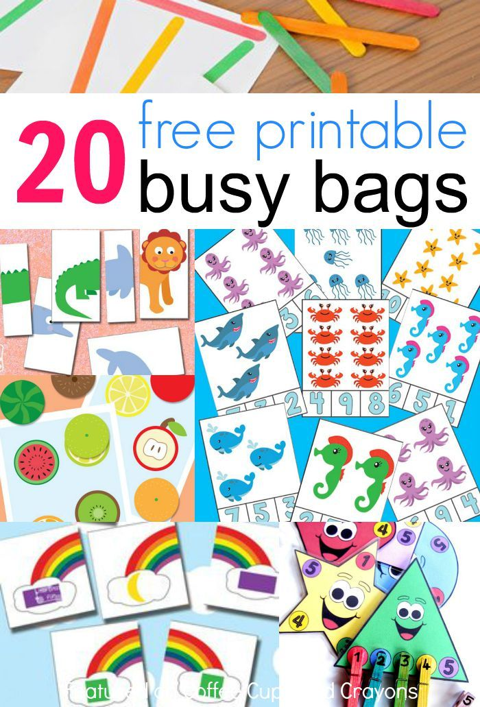 check out this awesome resource of 20 free printable busy bags activities perfect for kids