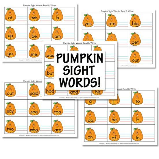 Free Pumpkin Sight Words Set