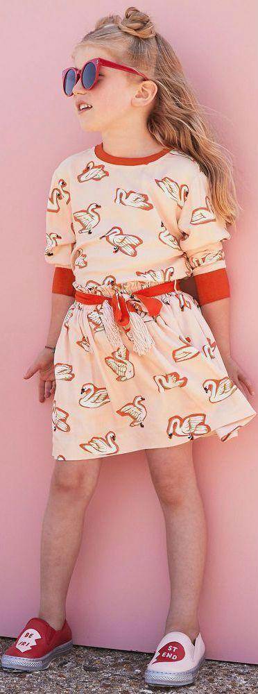 SALE !!! STELLA MCCARTNEY KIDS Girls Mini Me Pink Myrtle Swan Shirt & Skirt. Pretty Little Dress for your princess - kids, tweens & teen sizes  from the Fall Winter 2017 Collection. #cool #stellamccartney #kidsfashion #fashionkids #girlsdresses #childrensclothing #girlsclothes #girlsclothing #girlsfashion #minime #mommyandme #cute #girl #kids #fashion