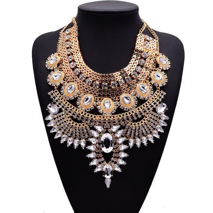 Vintage Inspired Huge RHINESTONE Bib Choker Egyptian Revival Statement Necklace #Unbranded #Bib