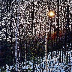 Mont Tremblant Stained Glass Painting  by Tim Packer