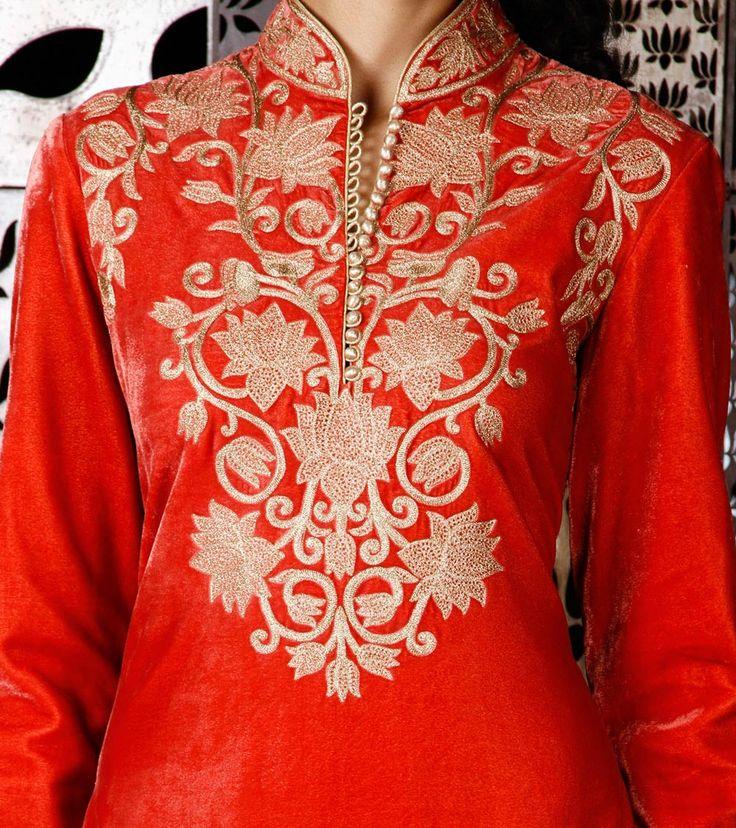Orange Velvet Salwar Kameez with Kasab Embroidery