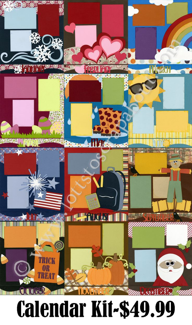 Scrapbook ideas calendar pages - Calendar Scrapbook Kit Click Image To Close