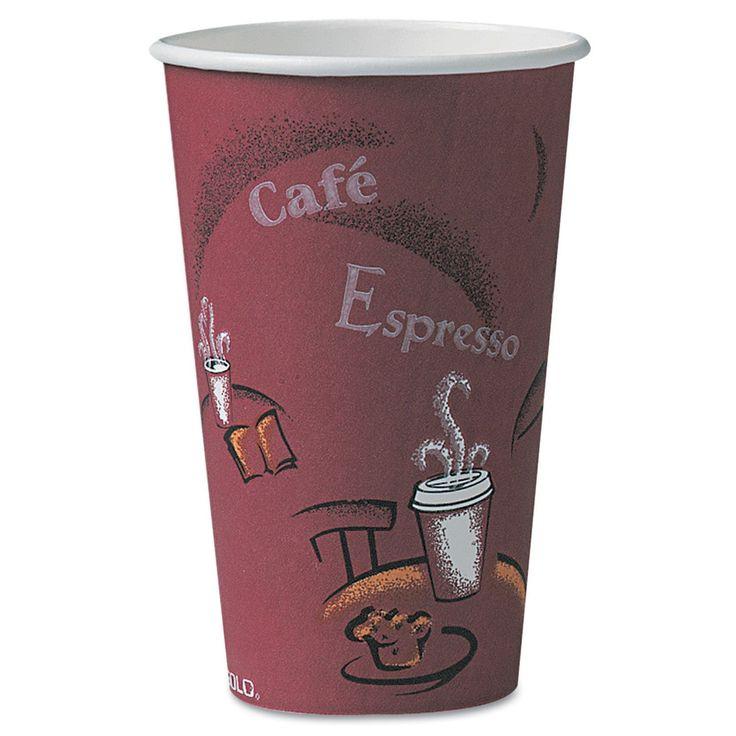 Solo Cup Company Bistro Design Hot Drink Cups 16oz Maroon 300/Carton