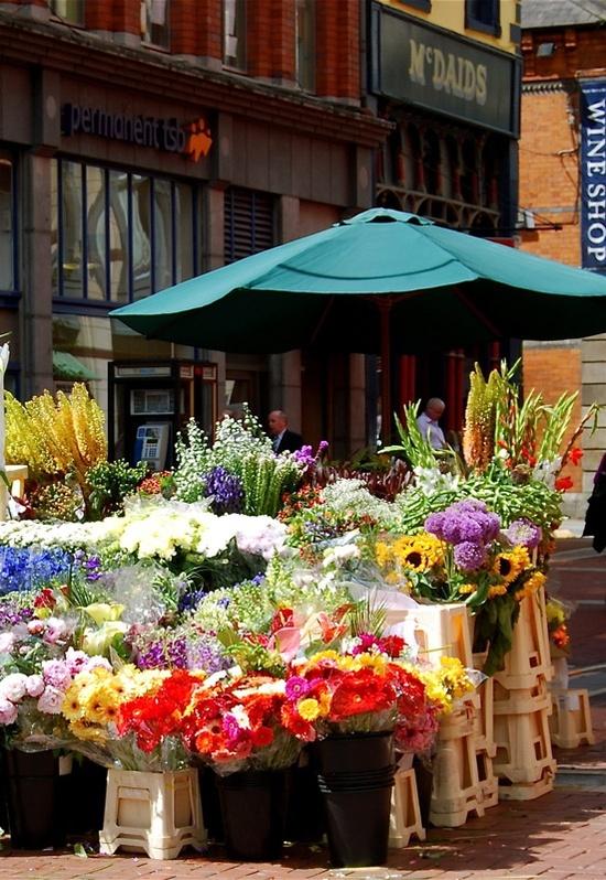 Flower market on Grafton Street, Dublin