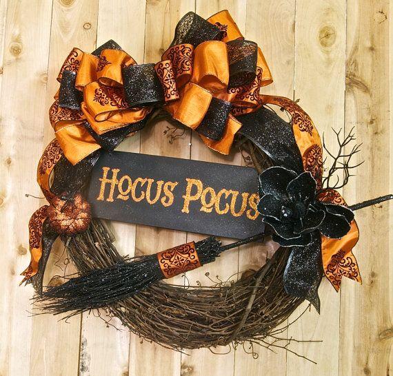 Halloween wreath 18in Black and Orange by SignsStuffnThings,