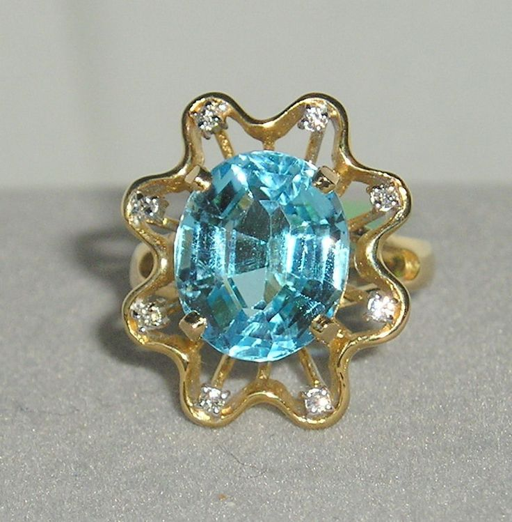 SOLID      14K Gold     BLUE  TOPAZ   Diamond    Ring #SolitairewithAccents